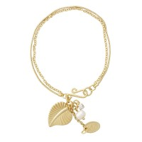 Lisbeth Dahl Armband in matt-gold mit Blattanhänger