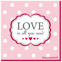 Krasilnikoff Servietten 'Love is all you need'