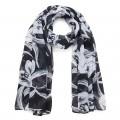 Intrigue Schal mit Blütenmuster 'schwarz'