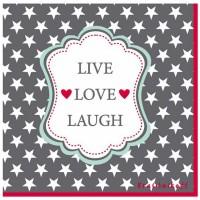Krasilnikoff Servietten 'Live Love Laugh'