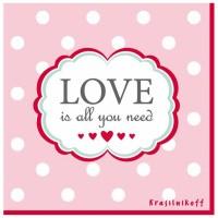 Krasilnikoff Servietten 'Love is all you need'