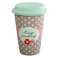 Krasilnikoff Coffee-to-go-Becher 'Keep smiling'