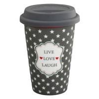Krasilnikoff Coffee-to-go-Becher 'Live Love Laugh'